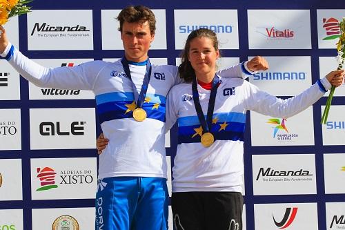 Baptiste Pierron e Camille Balanche campeões da Europa de DHI